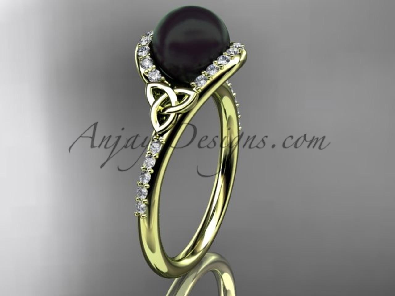 irish black cultured pearl engagement rings 14kt yellow gold diamond celtic trinity knot wedding ring ctbp7317 - Pearl Wedding Rings