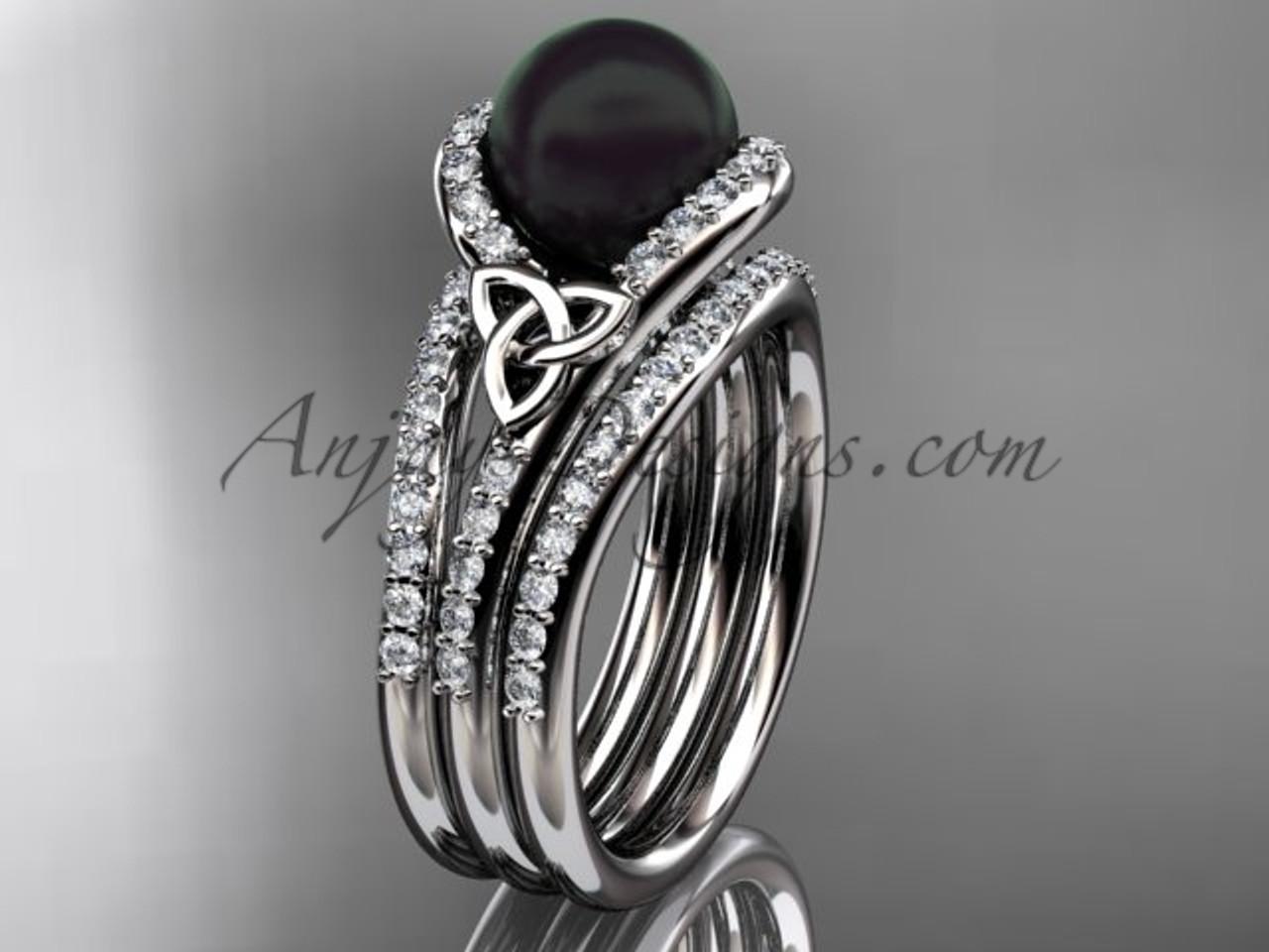 Black Cultured Pearl Celtic Double Band Engagement Ring Platinum Diamond Irish Trinity Knot Wedding CTBP7317S