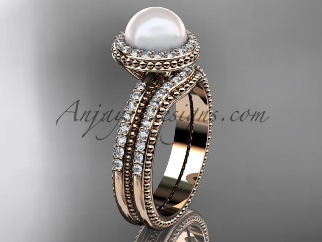 vintage pearl ladies wedding ring sets rose gold ring ap95s - Pearl Wedding Ring Sets
