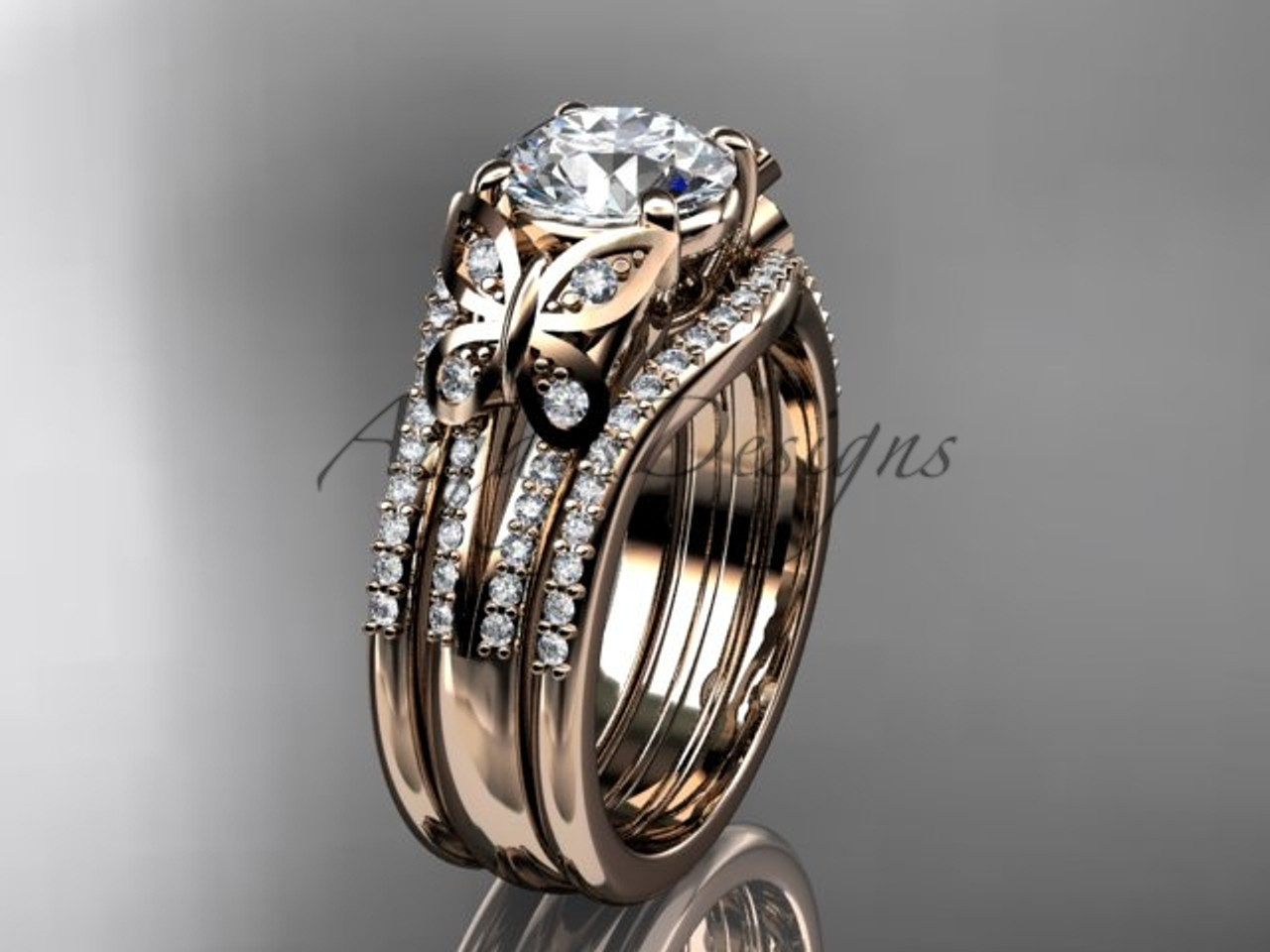 rose gold butterfly engagement rings double band adlr514s - Butterfly Wedding Rings