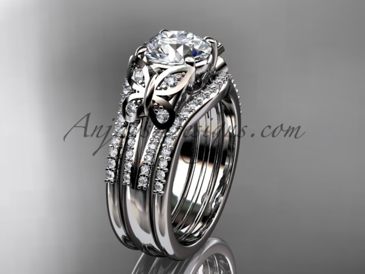 engagement rings double band butterfly rings white gold unique wedding ring set adlr514s - Double Band Wedding Ring