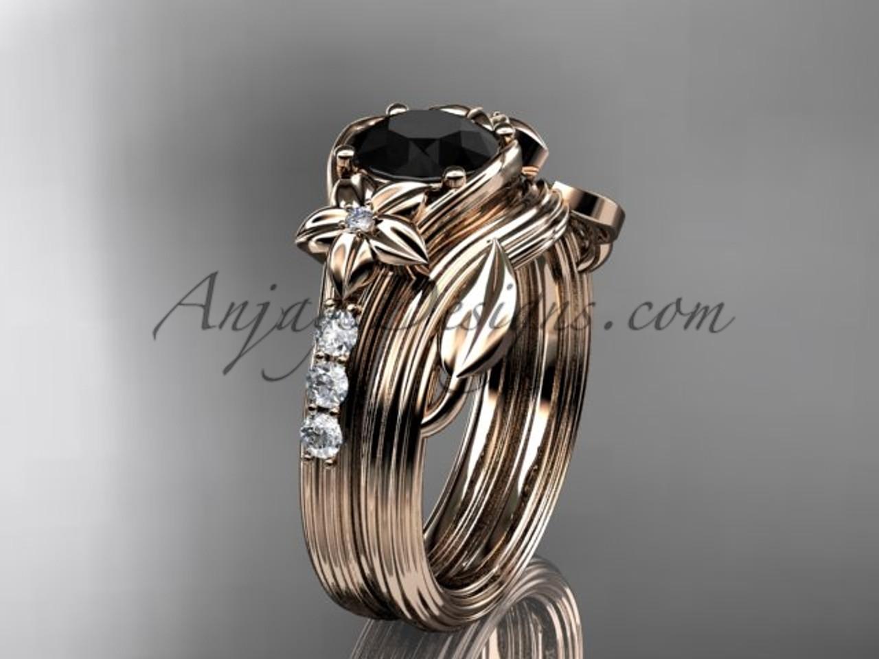 Rose Gold Flower Black Diamond Wedding Set ADLR333S
