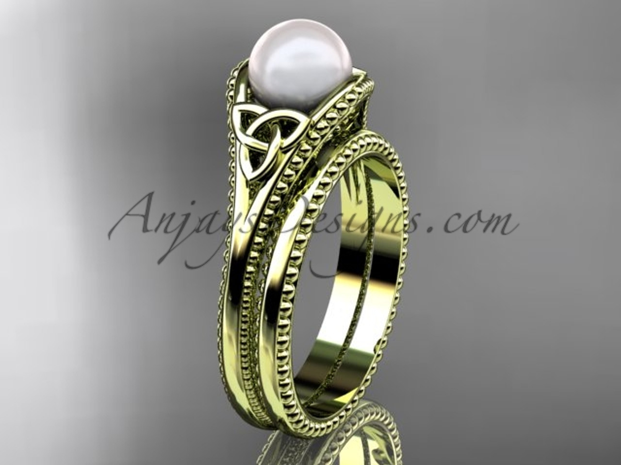 celtic knot wedding sets yellow gold pearl ring ctp7375s - Celtic Knot Wedding Rings