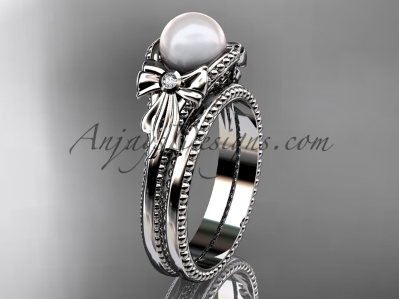 White Gold Bow Wedding Set Pearl Engagement Ring AP376S