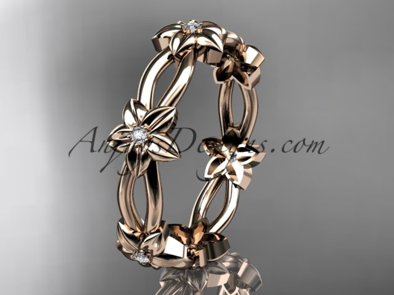 14k rose gold diamond leafvine flower wedding ringengagement ring