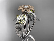 Affordable ring 14kt tri color gold floral ring ADLR171