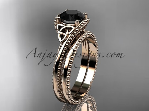 14kt rose gold celtic trinity knot wedding ring, engagement set with a Black Diamond center stone CT7322S