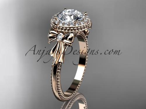 14kt rose gold diamond unique engagement ring, wedding ring ADER157