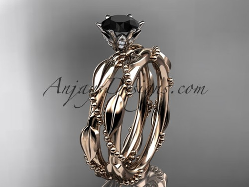 14k rose gold diamond vine and leaf wedding ring, engagement set with a Black Diamond center stone ADLR178S