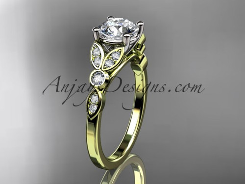 14k yellow gold unique engagement ring, wedding ring ADLR387