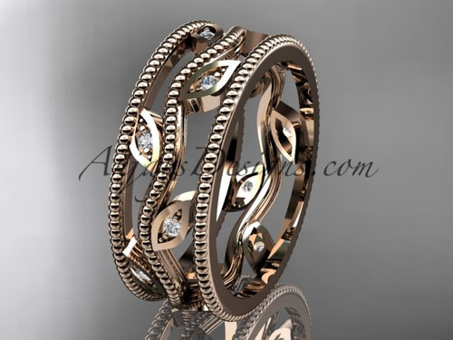 14k rose gold diamond leaf and vine wedding band,engagement ring ADLR7B