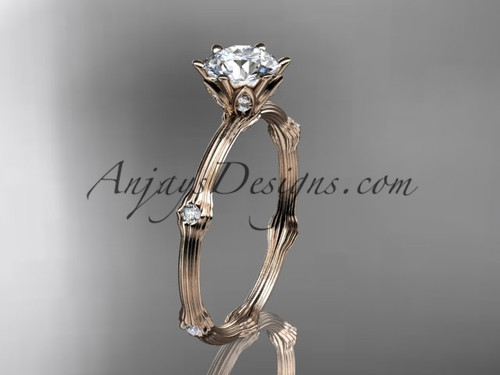 "14k rose gold diamond vine and leaf wedding ring, engagement ring  with  ""Forever One"" Moissanite center stone ADLR38"