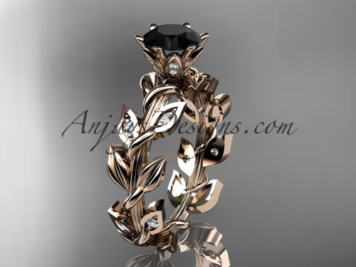 14k rose gold diamond leaf and vine engagement ring with a Black Diamond center stone ADLR124