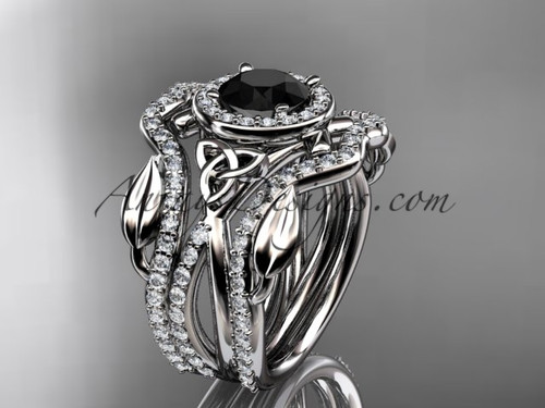 platinum celtic trinity knot engagement ring, wedding ring with a Black Diamond center stone and double matching band CT789S