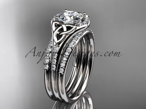 14kt white gold diamond celtic trinity knot wedding ring engagement ring with a double matching - Celtic Wedding Ring Sets