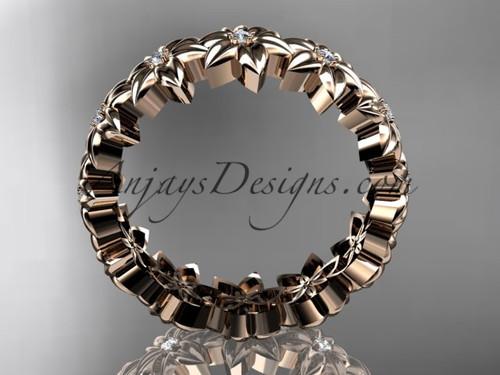 14kt Rose Gold Diamond Flower Wedding Ring Engagement Band ADLR57B