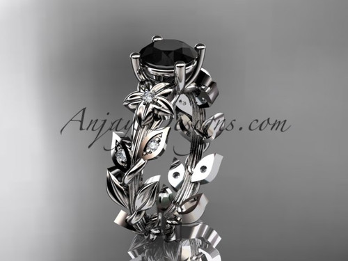 14k white gold diamond floral leaf and vine wedding ring, engagement ring with a Black Diamond center stone ADLR215