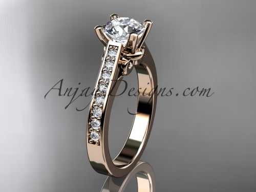 "14kt rose gold diamond unique engagement ring, wedding ring with a ""Forever One"" Moissanite center stone ADER134"