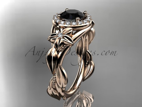 14k rose gold diamond unique leaf and vine, floral engagement ring with a Black Diamond center stone ADLR327