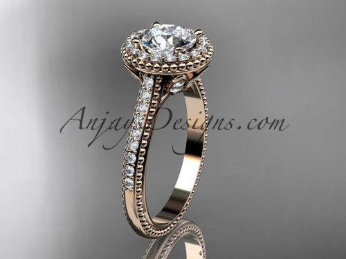 14kt rose gold diamond floral wedding ring, engagement ring ADLR101