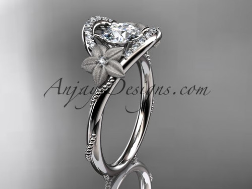 "14kt white gold diamond unique engagement ring with a ""Forever One"" Moissanite center stone ADLR166"