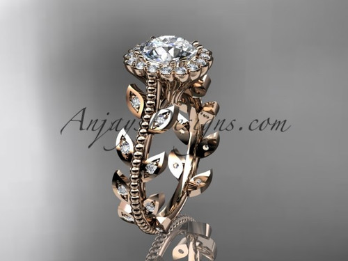 "14k rose gold diamond leaf and vine wedding ring, engagement ring with a ""Forever One"" Moissanite center stone ADLR118"