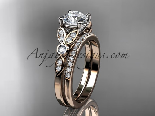 """14k rose gold unique engagement set, wedding ring with a """"Forever One"""" Moissanite center stone ADLR387S"""