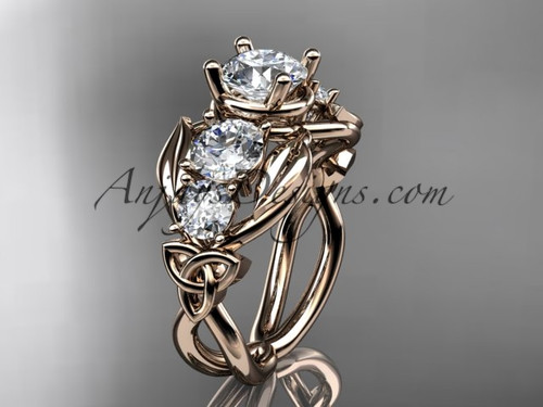 """14kt rose gold celtic trinity knot engagement ring , wedding ring  with """"Forever One"""" Moissanite center stone CT769"""