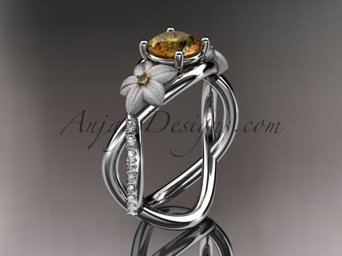 14kt white gold diamond leaf and vine birthstone ring ADLR90 Citrine November\'s birthstone. nature inspired jewelry