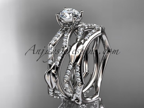 "14k white gold diamond leaf and vine wedding ring, engagement set with a ""Forever One"" Moissanite center stone ADLR353S"