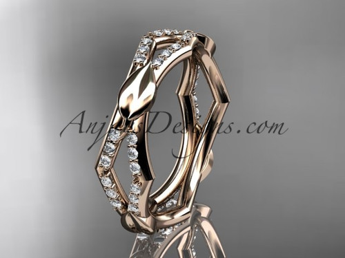 14k rose gold diamond leaf and vine wedding band,engagement ring ADLR353B