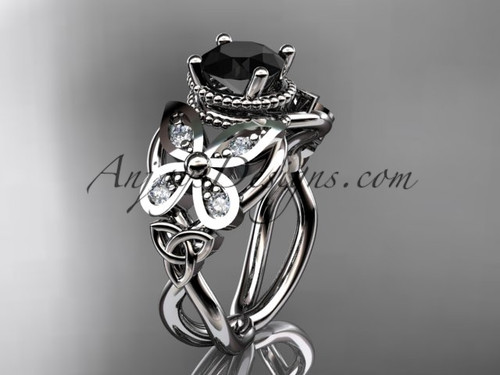 platinum diamond celtic trinity knot  wedding ring,butterfly engagement ring  with a  Black Diamond center stone CT7136