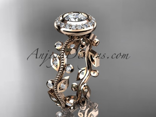 "14k rose gold diamond leaf and vine wedding ring, engagement ring with a ""Forever One"" Moissanite center stone ADLR212"