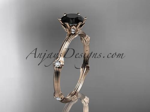 14k rose gold diamond vine and leaf wedding ring, engagement ring  with  Black Diamond center stone ADLR38