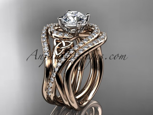 "14kt rose gold diamond celtic trinity knot wedding ring, engagement ring with a ""Forever One"" Moissanite center stone and double matching band CT7320S"