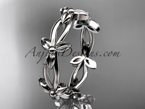 14k white gold leaf and vine wedding ring, engagement ring ADLR19C