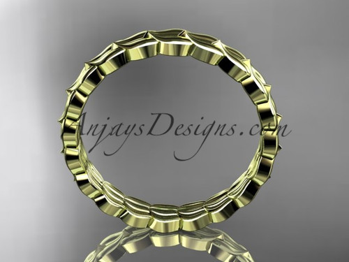 14kt yellow gold leaf wedding ring engagement ring wedding band adlr35b - Leaf Wedding Ring