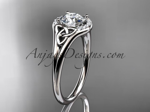 "14kt white gold celtic trinity knot engagement ring, wedding ring with a ""Forever One"" Moissanite center stone CT791"