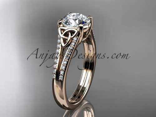 """14kt rose gold celtic trinity knot engagement ring ,diamond wedding ring with a """"Forever One"""" Moissanite center stone CT7108"""