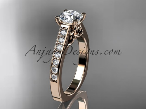14kt rose gold diamond unique engagement ring, wedding ring ADER114