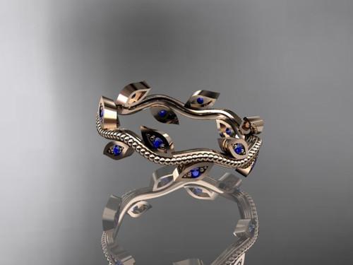 14k Rose Gold Blue Sapphire Leaf And Vine Wedding Ringengagement Ringwedding Band