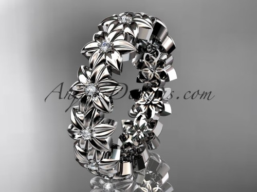 14kt white gold diamond flower wedding ring engagement ring wedding band adlr57b - Flower Wedding Ring