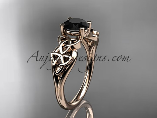 14kt rose gold celtic trinity knot wedding ring, engagement ring with a Black Diamond center stone CT7169