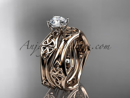 "14kt rose gold celtic trinity ring,  triquetra ring, engagement  set with a ""Forever One"" Moissanite center stone CT7356S"