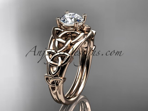 """14kt rose gold celtic trinity knot engagement ring , wedding ring  with a """"Forever One"""" Moissanite center stone CT765"""
