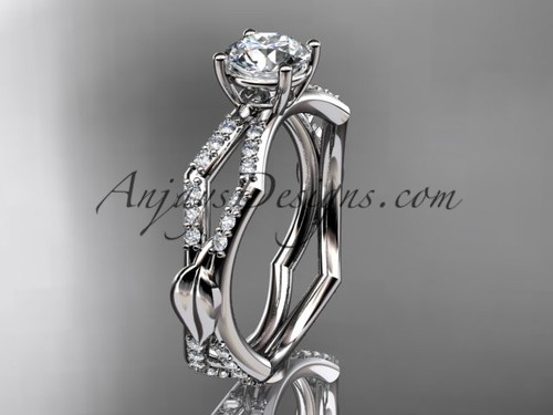 """14k white gold diamond leaf and vine wedding ring,engagement ring with a """"Forever One"""" Moissanite center stone ADLR353"""