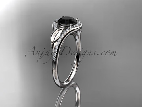 14kt white gold diamond leaf wedding ring, engagement ring with a Black Diamond center stone ADLR334