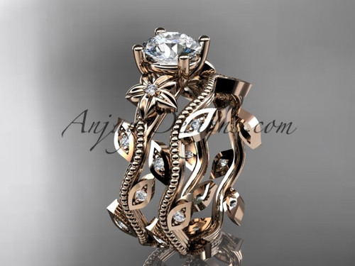 14k rose gold diamond leaf and vine wedding ring, engagement ring, engagement set ADLR151S