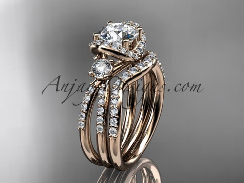 14kt Rose Gold Diamond Unique Engagement Set Wedding Ring ADER146S