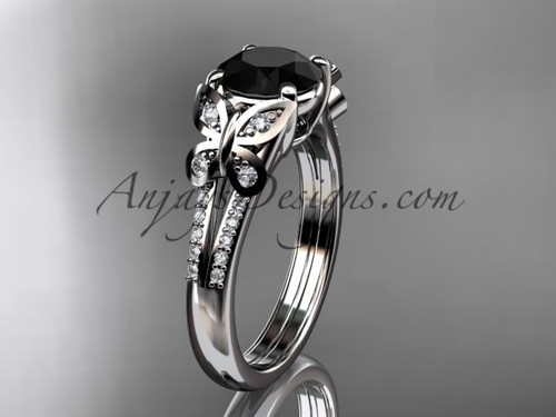 14kt white gold diamond unique engagement ring, butterfly ring, wedding ring with a Black Diamond center stone ADLR514